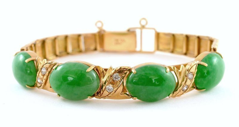 Chinese 18K Gold Jade Jadeite Diamond Bracelet Mk