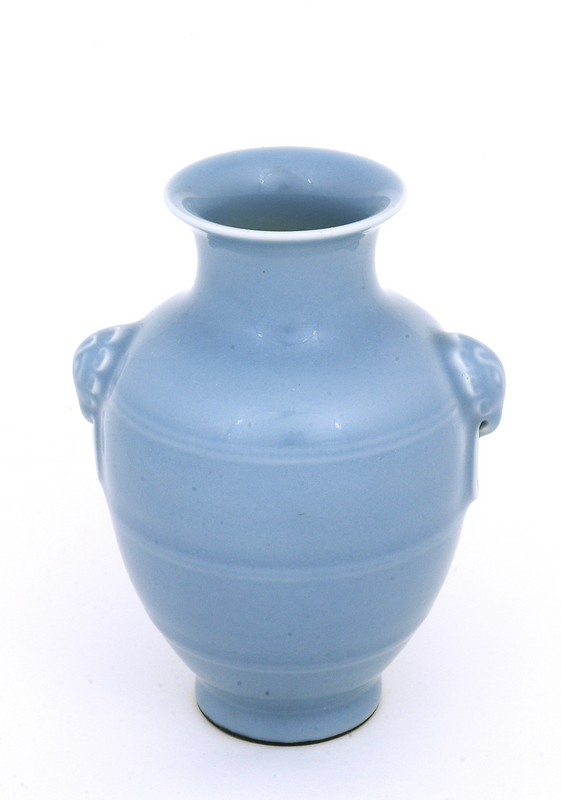 Early 20C Chinese Sky Blue Elephant Ear Vase  Mk