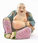Chinese Famille Rose Happy Buddha Figurine Sg