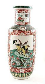 Early 20C Chinese Famille Rose Wucai Vase Fu Dog