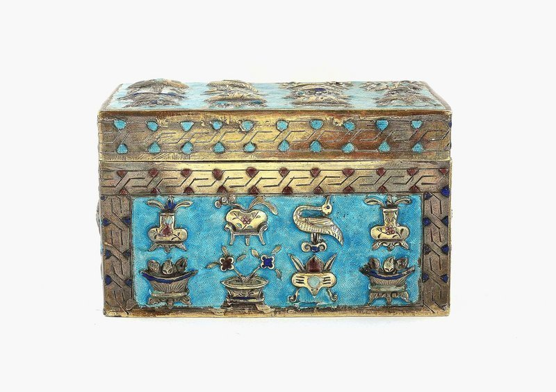 Late 19C Chinese Silver Enamel Box Temple Symbol
