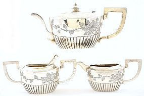 Late 19C Chinese Sterling Silver Tea Set Flower Motif
