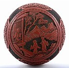 19C Chinese Cinnabar Lacquer Carved Box Figurine