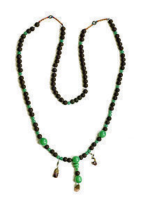 19C Chinese Peking Glass Court Necklace Herb Bead