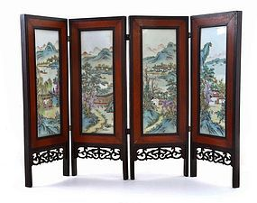 Early 20C Chinese Famille Rose Table Screen Plaque