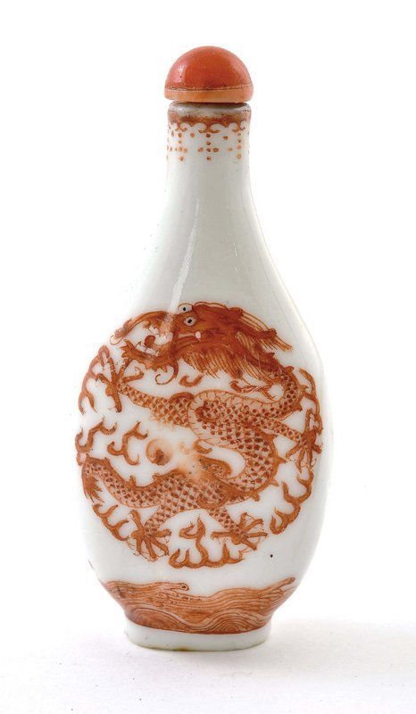 19C Chinese Coral Red Dragon Porcelain Snuff Bottle Mk