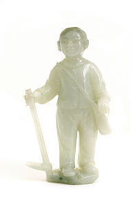 Chinese Cultural Revolution Jade Jadeite Farmer Boy
