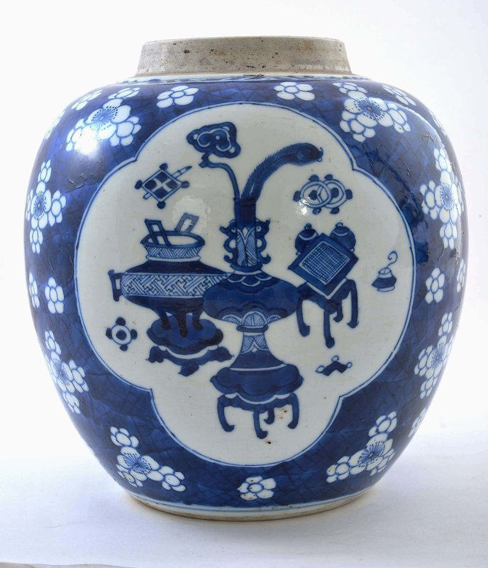 Chinese Blue and White Porcelain Kangxi Vase Jar