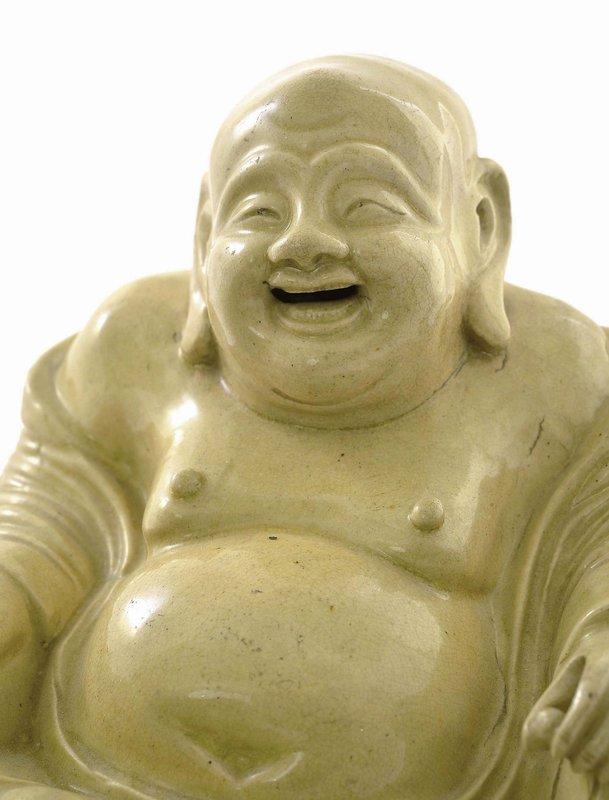 17/18C Chinese Pottery Happy Buddha Figurine