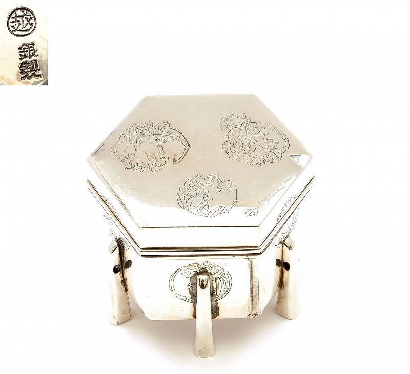 Japanese Silver Hexagon Presentation Box Flowers Mk