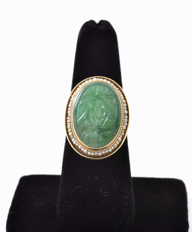 Early 20C Chinese 14K Jadeite Seed Pearl Ring