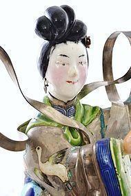 Early 20C Chinese Silver Enamel Lady Basket Figure Mk
