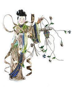 Early 20C Chinese Silver Enamel Lady Basket Figurine Mk