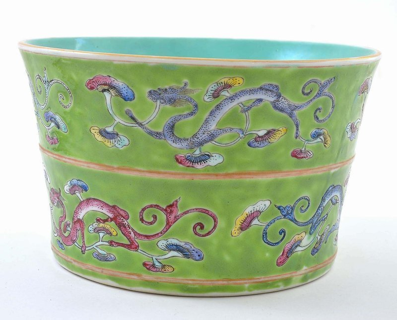 Early 20C Chinese Famille Rose Dragon Brush Pot Mk