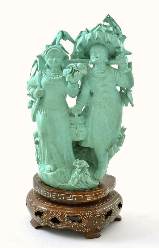 Chinese Culture Revolution Turquoise Carved Girl