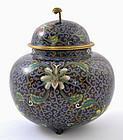 Chinese Cloisonne Cover Jar Flowers Mk Lao Tian Li