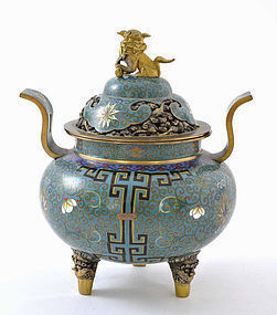 Chinese Gilt Cloisonne Censer Fu Dog Lion Lao Tian Li