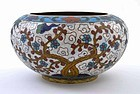 18/19C Chinese Cloisonne Bamboo Plum Bowl