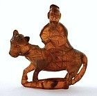 19C Chinese Amber Caved Man Riding Horse Figure