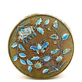 Chinese Gilt Silver Enamel Round Box Peony Flower Mk
