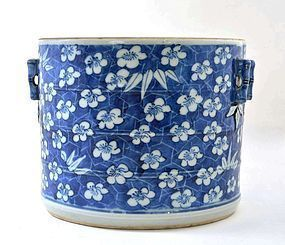 Late 19C Chinese Blue & White Bamboo Brush Pot