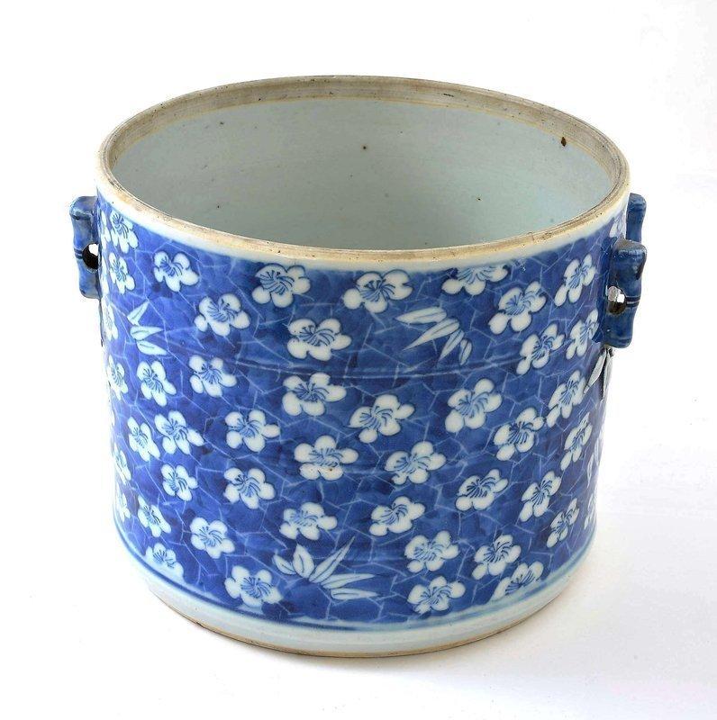 Late 19C Chinese Blue & White Bamboo Brush Pot