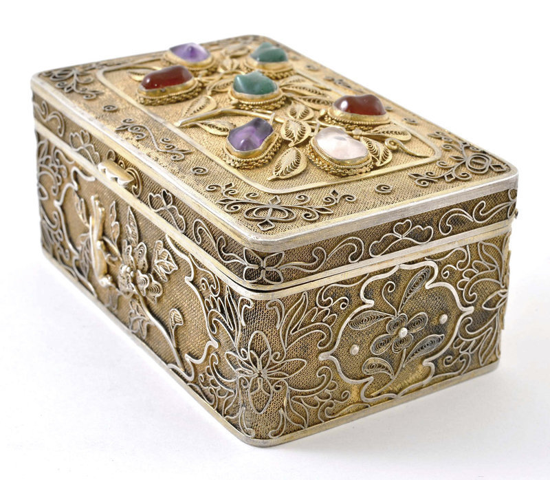 Early 20C Chinese Silver Sterling Filigree Jewel Box Mk
