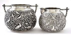 Early 20C Chinese Silver Tea Creamer & Sugar Bowl Mk Bird