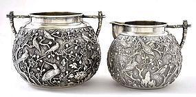 Chinese Silver Tea Creamer & Sugar Bowl Mk Bird