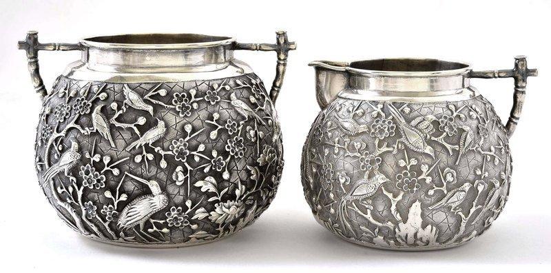 Early 20C Chinese Silver Tea Creamer & Sugar Bowl Mk Bird