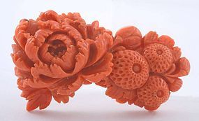 Chinese Red Coral Carved Flower Pendant Pin Brooch