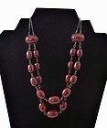 Red Cherry Amber Bakelite Carved Bead Necklace
