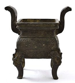 17C Chinese Bronze Censer Incense Burner Fu Lion