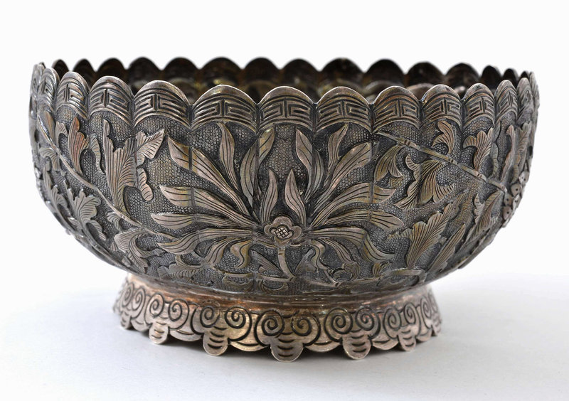 Chinese Sterling Silver Bowl Flower Mk