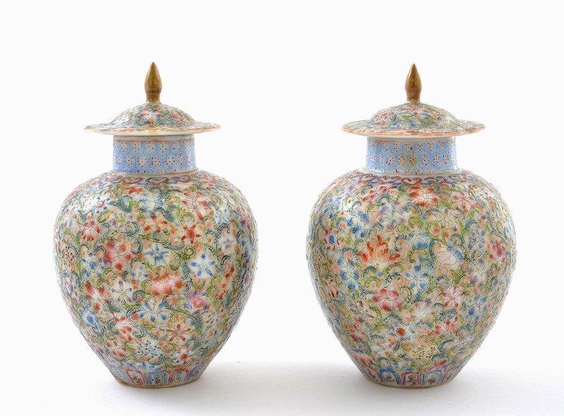 2 Chinese Enamel Famille Rose Millefleur Cov Vase