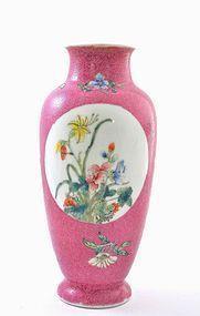Chinese Pink Famille Rose Porcelain Panel Vase Mk