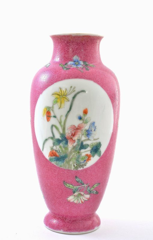 Chinese Pink Famille Rose Porcelain Panel Vase Mk