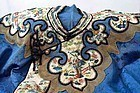 19C Chinese Blue Silk Embroidery Textile Lady Robe