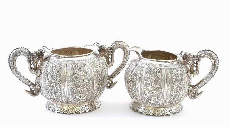 Late 19C Chinese Sterling Silver Dragon Creamer & Sugar