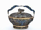 19C Chinese Gilt Silver Filigree Enamel Basket Fruit Finial