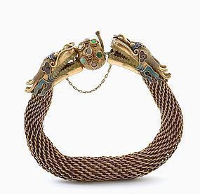 Chinese Gilt Silver Enamel Filigree Dragon Bracelet