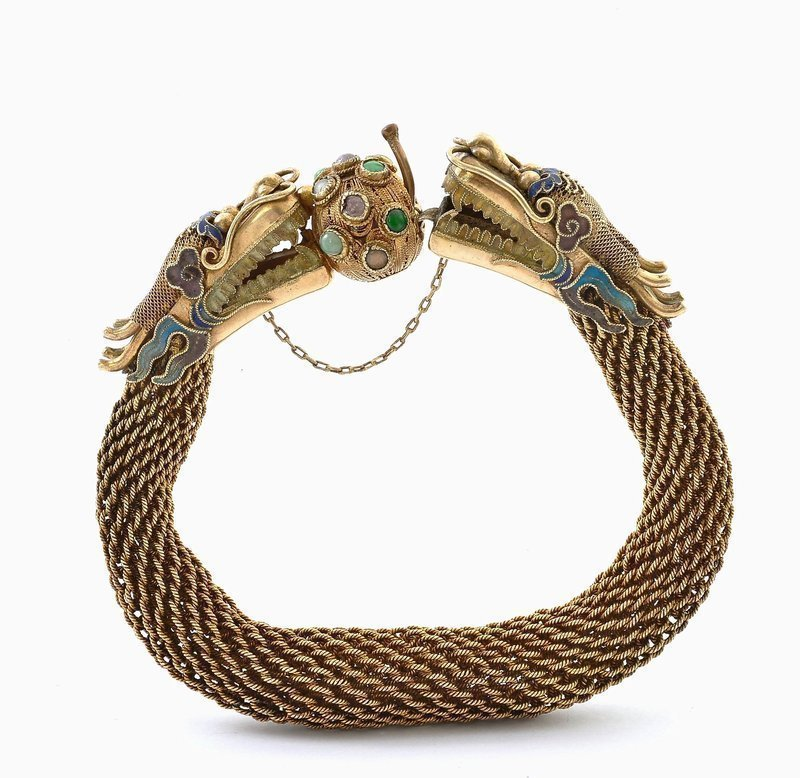 Chinese Gilt Silver Enamel Filigree Dragon Bracelet