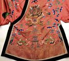 Late 19C Chinese Silk Embroidery Textile Dragon Robe