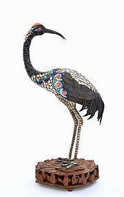 Chinese Silver Enamel Crane Bird Turquoise Coral Bead