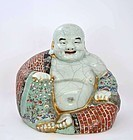 Old Chinese Crackle Famille Rose Happy Buddha Mk