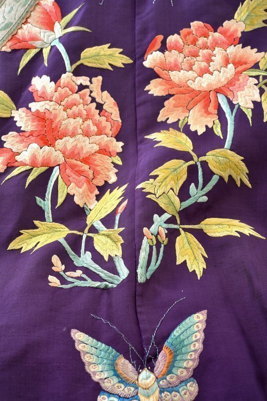 19C Chinese Purple Lady Embroidery Silk Long Robe
