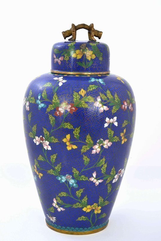 Chinese Cobalt Blue Gilt Cloisonne Cov Jar Dragon