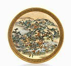 Meiji Japanese Satsuma Dish Figure Mountain Scene