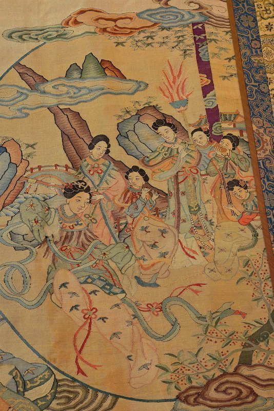 Pair Chinese Silk Kesi Embroidery Textile Panel