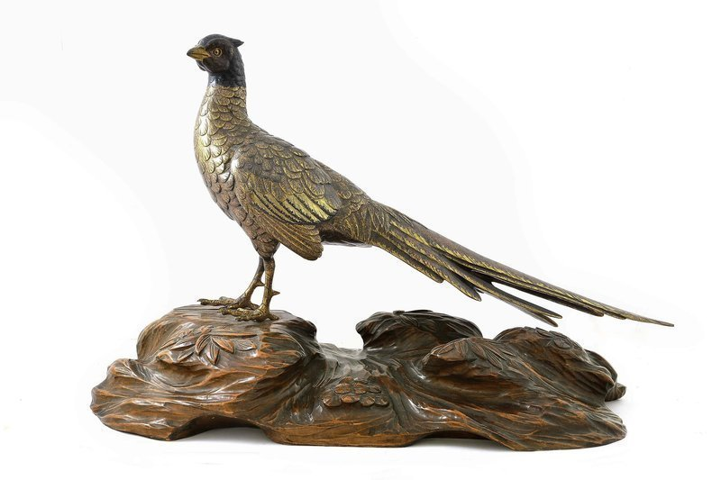Meiji Japanese Gilt Bronze Mixed Metal Pheasant Bird